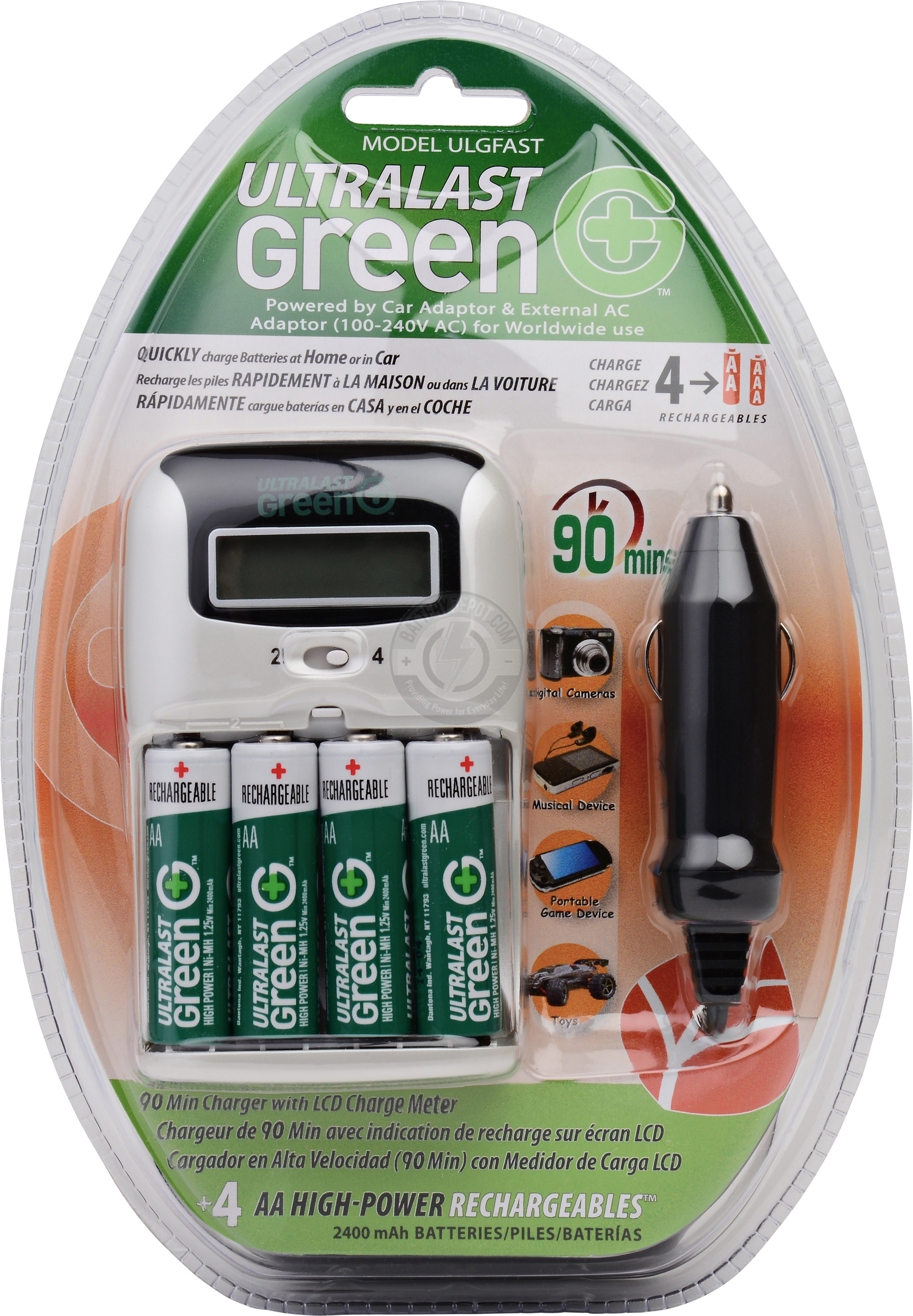 4 Slot Fast Charger for AA & AAA Batteries
