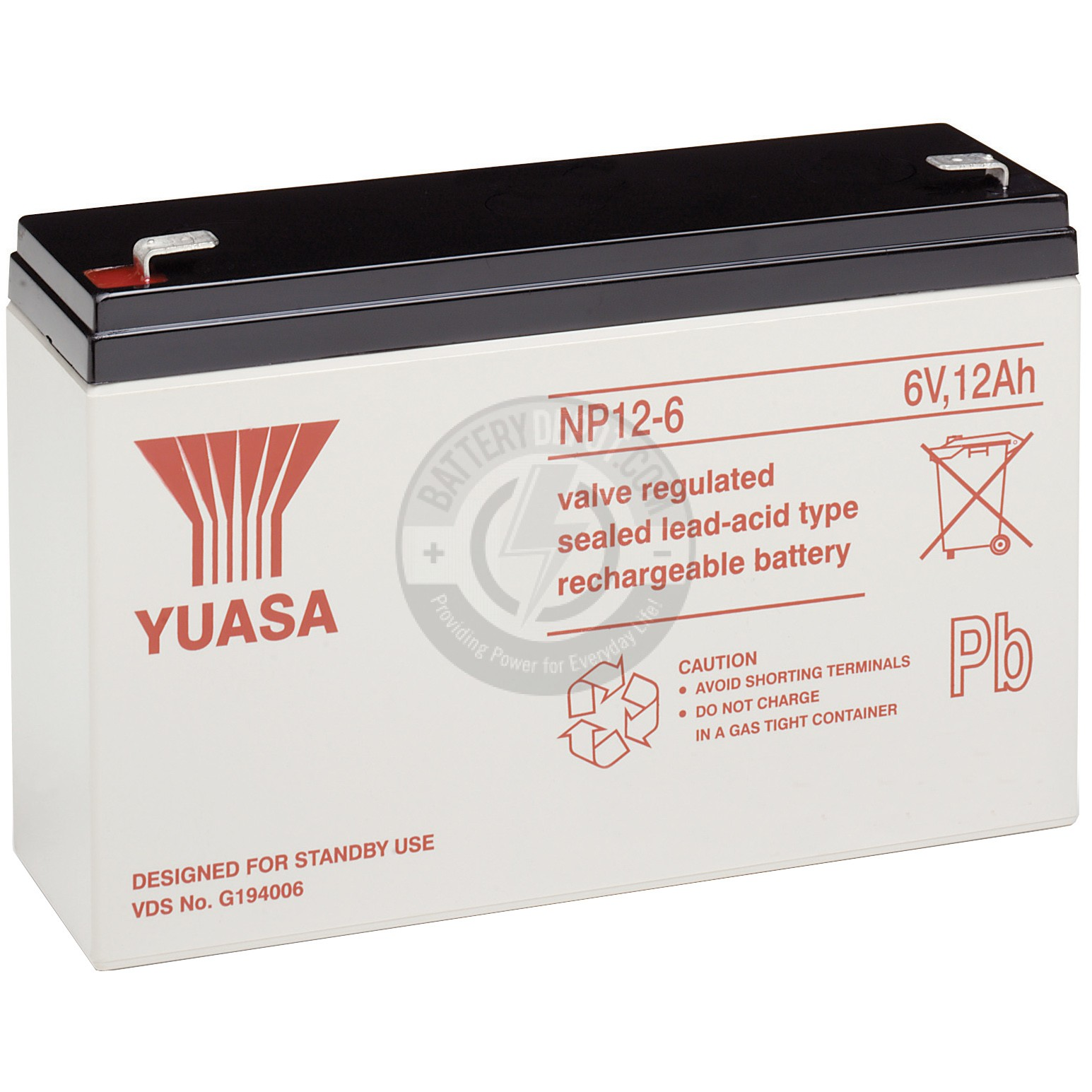 6v 12Ah Sealed Lead Acid Battery with F1 Terminals