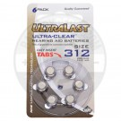 Size 312 Hearing Aid Battery, 6 Pack